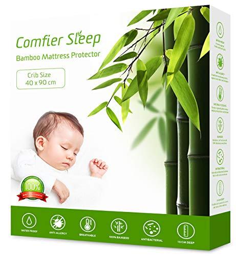 Comfier Sleep Matratzenschoner für Kinderbett, superweich, wasserdicht, 40 x 90 cm, 100 % Bambus, atmungsaktiv und vollständig angepasste Matratze für Kinderbett (40 x 90 cm)