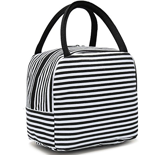 BLUBOON Lunch Bag Insulated Lunch Box for Women Mens Canvas Lunch Cooler Organizer School Kids Lunch Tote (Black Strip)