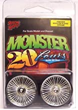Hoppin Hydros Chrome Playaz Monster 24's Rims Wheels w/ Ultra Low Profile Tires (for Hobby Model Kits) 1/24 1/25 Scale