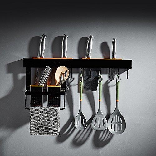 ZWL Rack de stockage mural moderne style américain économiser de l'espace propre pot Rack stockage de condiments Rack de cuisine étagère espace noir multifonction en aluminium Taille: 60 cm , une bonne aide pour le stockage de la cuisine ( taille : #4 60cm )