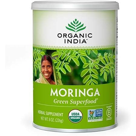 Organic India Moringa Herbal Supplement Powder - Green Superfood, Nutrient Dense, Pure Plant Protein, Vitamin A, E, K, Iron, Calcium, Fiber, Vegan, Gluten-Free, USDA Certified Organic - 8 oz Canister