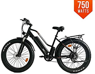 PowerMax Ebike Summit Electric Bicycle 48V 750W BAFANG Motor Step Through Design Electric Bike 26 Inch Fat TIRE Bike for City Beach Snow and Mountain Trails