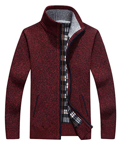 Vcansion Men's Classic Soft Thick Knitted Cardigan Sweaters Long Sleeve Full Zip Wine Red M