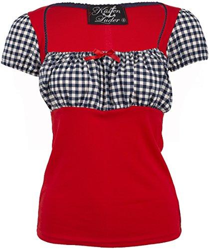 Küstenluder Damen Oberteil Kaila Pepita Rockabilly Shirt Rot S