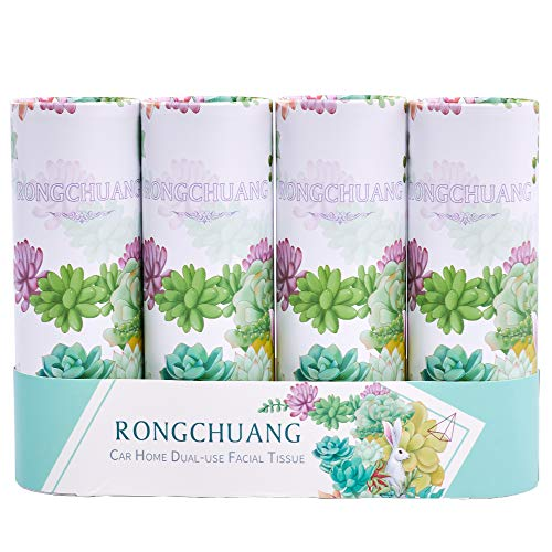 Facial Tissue RONGCHUANG 4 Packs 150 Count Tissues Per Tube Portable Cylinder Box Roll for Office Car Home Green