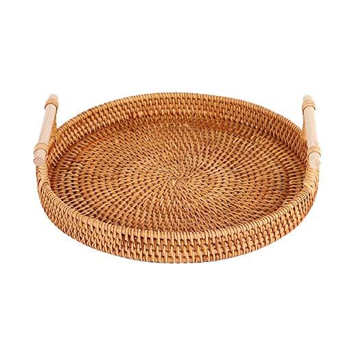 KDOI Bandeja de ratán, cesta redonda con asa, tejida a mano, cesta de mimbre, cesta de pan, fruta, alimentos, tamaño L
