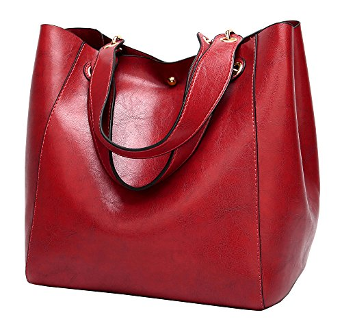 Molodo Womens Satchel Hobo Top Handle Tote Leather Handbag Designer Shoulder Purse Bucket Crossbody Bag(Wine-red)