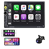 Henstar 7 Inch Double Din Car Stereo Compatible with Apple Carplay,2021 New 7 Inch Touchscreen Radio, Bluetooth FM Receiver Mirror Link,AUX,TF Card,HD Backup Camera,Mic,SWC