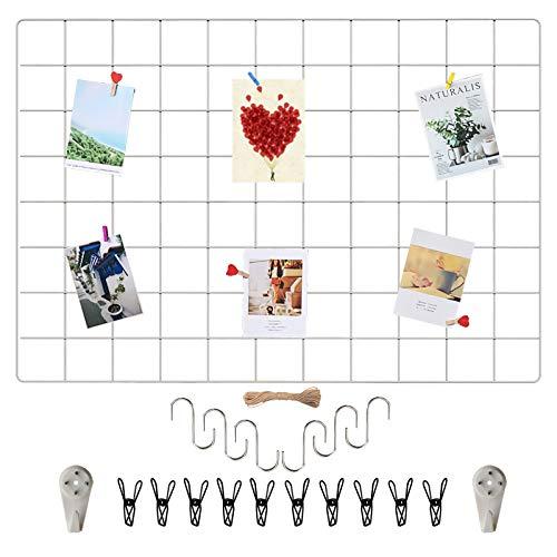 Wandgitter Weiß(45x65cm),Wanddekor, Aesthetic Deko,Multifunktionale Gitterwand, DIY Eisen Gitter der Fotowand Dekoration .Deko zum Anbringen von Fotos, Postkarten, Notizen usw