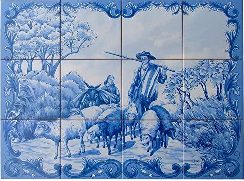 Azulejos, fresco, panel o pintura para la decoración de la casa. Loza, 12 azulejos pintados y esmaltados