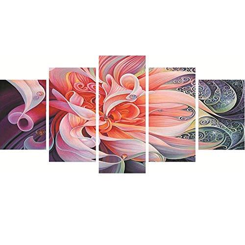 Lansuer Strasssteingemälde zum Selbermachen, für Erwachsene, Kinder, Zimmerdekoration, Haus, Büro, Geschenke für Sie, Ihn, rosa Blume, 95 x 45 cm, 1 Packung