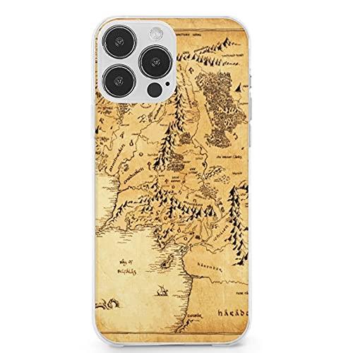 Compatible con iPhone 13 Pro Max, Lord of The Ring (Mapa) funda protectora de TPU suave a prueba de golpes para iPhone 13 Pro Max 6.7 pulgadas (2021)