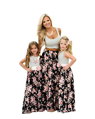 Minetom Mütter und Tochter Familie Sommerkleid Streifen Maniche Tromba Kleider Spitze MiniKleid A Linie Strandkleid Partykleid D Weiß 110 (Tochter)