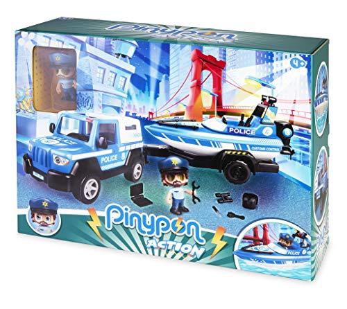 Pinypon Action. Pickup de Policía con Lancha para niños y niñas de 4 a 8 años (Famosa 700016265)
