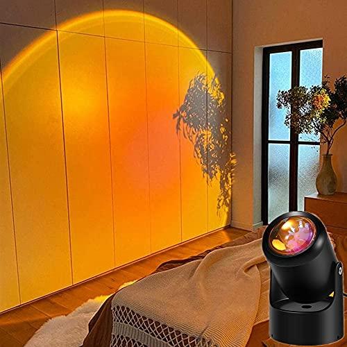 Sunset Lamp,Sunset Projection Lamp,180° Sunset Light luz ambiental visual romántica para fotografía, lámpara LED de luz nocturna con carga USB para decoración de dormitorio temática de fiesta