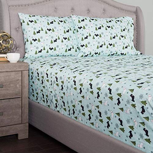 cozelle Microfiber Whimsical Holiday 4-Piece Sheet Set (Mint-Scottie Dogs, Queen)