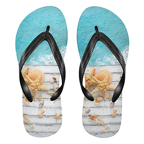 Mnsruu Chanclas de madera blanca con diseño de estrella de mar y...