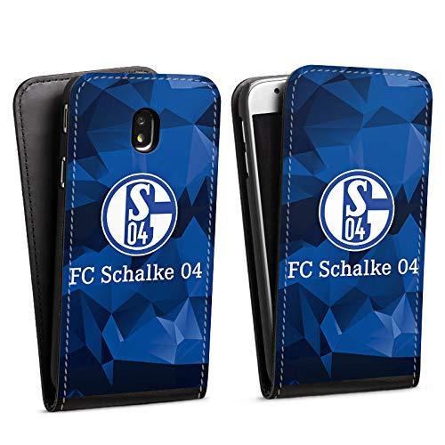 DeinDesign Flip Hülle kompatibel mit Samsung Galaxy J7 Duos 2017 Tasche Hülle FC Schalke 04 Muster Offizielles Lizenzprodukt