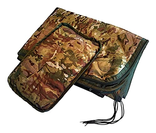 Dragoon Unlimited Military Gear - Woobie, Poncho Liner with Zippered Head Port, Doubles as a Sleeping Bag, 8 Secure Tie Points, Pillow & Stuff Sack Included