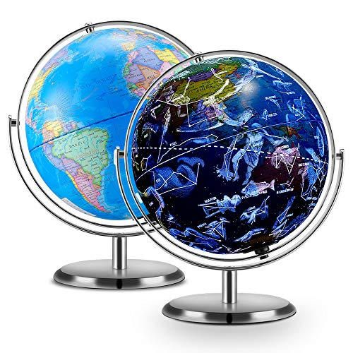 4 in 1 Interactive Globe, DIPPER Smart Globe for Kids Learning, LED Illuminated Constellations at Night, AR Educational Globes of The World with Stand, Ideal Educational Learning Toy for Boys & Girls