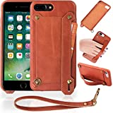 Veracelli Compatible with iPhone 7 Plus Case and iPhone 8 Plus Case - Luxury Phone Case with Card Holder and Stand - Genuine Leather Cover with Strap Holder (Brown)
