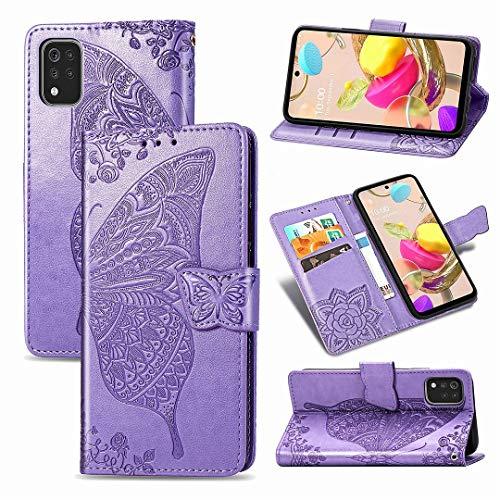SATURCASE LG K42 Hülle, Schmetterling Blume PU Lederhülle Magnetverschluss Brieftasche Kartenfächer Standfunktion Handschlaufe Schutzhülle Handyhülle Tasche Hülle für LG K42 (Lavendel)
