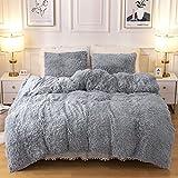 Plush Fluffy Duvet Cover Oeko-TEX Certified Luxury Ultra Soft Shaggy Crystal Velvet Bedding Comforter Set 3 Pieces(1 Duvet Cover + 2 Pillow Shams) Zipper Closure(Queen, Light Gray)