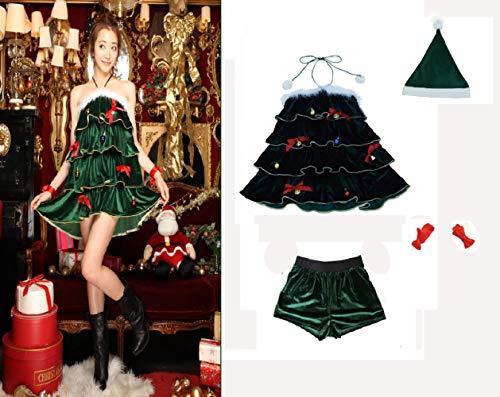 Traje Señoras Navidad Árbol Trajes la Tapa Del Árbol de Navidad Elf Navidad Trajes Papa Noel Disfraz Cosplay Funcy Vestido Fiesta de Navidad Carnaval Pavo Disfraz Bola de Nieve Juego de Navidad V