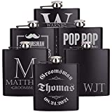 Personalizedgiftland Personalized Flask, Set Of 6 - Customized Flask Groomsmen Gifts For Wedding Favors, Personalized Groomsman gift – Stainless Steel Engraves Flasks w Gift Box Options – 6oz, Black