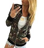 Minetom Damen Reißverschluss Camouflage Jacken Mantel Herbst Winter Straße Kurze Jacke Outwear Women Casual Jackets Grün DE 36