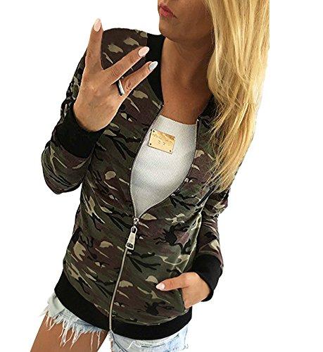 Minetom Damen Reißverschluss Camouflage Jacken Mantel Herbst Winter Straße Kurze Jacke Outwear Women Casual Jackets Grün DE 40