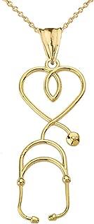 Fine 14k Yellow Gold Heart-Shaped Stethoscope Pendant Necklace