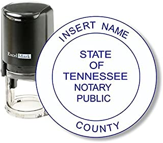 Round Notary Stamp for State of Tennessee - Self Inking Stamp - Features The ExcelMark Double Sided Ink Pad for Longer Product Life
