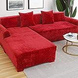 XBR Sofá de Felpa de Gama Alta Funda Antideslizante elástica Funda de sofá seccional en Forma de L Fundas Protectoras Antiarrugas para sofá Universal-Rojo 3 plazas 190~230 cm (75-91 Pulgadas)