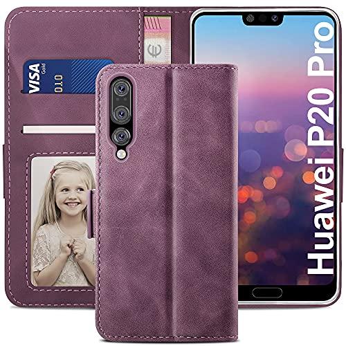 YATWIN Handyhülle Huawei P20 Pro Hülle, Klapphülle Huawei P20 Pro Premium Leder Brieftasche Schutzhülle [Kartenfach][Magnet][Stand] Handytasche für Huawei P20 Pro Case, Weinrot