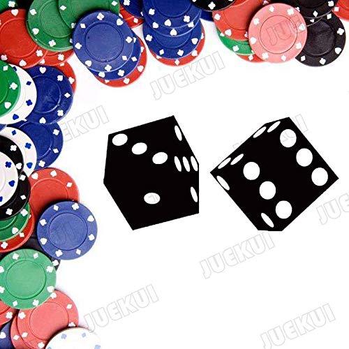 jiushivr Zwei Würfel rotierenden Muster entfernbare Wandaufkleber für Casino Hintergrund abnehmbare Wandtattoos Bar Wohnzimmer Poster 57x29cm