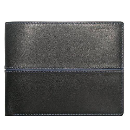 Sattler & Co. Geldbörse mit Namensprägung, THE BEST, Damen und Herren Geldbörse, Leder, schwarz/blau