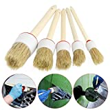 OrliverHL 5 Pc Soft Car Detailing Brushes For Cleaning Dash Trim Seats Wheels Wood Handle