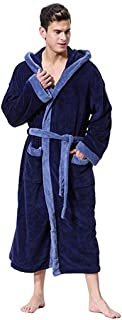 Bathrobe Bath towel رداء حمام منشفة Men's Fashion Patchwork Long Sleeved Lengthened Coralline Plush Shawl Bathrobe Robe,Size:XXL,Colour:Blue (Color : Blue, Size : 5XL)
