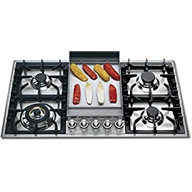 """Ilve UHP95FCI 36"""" Gas Cooktop in Stainless Steel 4 Width: 34.62"""" x Cutout Width: 33.87"""" x Cutout Depth: 2.62"""" x Cutout Height: 19.31"""" Control Type: Knobs - Type: Cooktop - Highest Burner Output: 15500 BTU Burners: 5 - Griddle: Yes - Convertible to Liquid Propane: Yes - Dual Function Triple Ring Burner"""