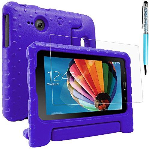 """AFUNTA - Custodia protettiva per Samsung Galaxy Tab E Lite 7.0 con protezione schermo e pennino, custodia convertibile in EVA, custodia in plastica PET e penna touch per tablet da 7"""", colore: Viola"""