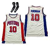 CWWAP Hombres Adultos Rodman10 Thomas 11 Pistones de Uniforme de Baloncesto Jersey de Bordado de Malla Vintage, Chaleco de Baloncesto de Malla de poliéster Top-No.10 white-2XL
