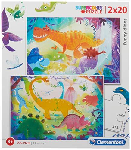 2 Puzzles 20 Piezas Dinosaurios, Multicolor (24755.4)