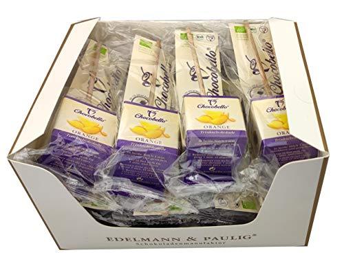 12 x CHOCOBELLO   ORANGE   Trinkschokolade am Stiel   Bio   Box mit 12 Schokoladen-Würfel am Holzsitel   von EDELMANN & PAULIG