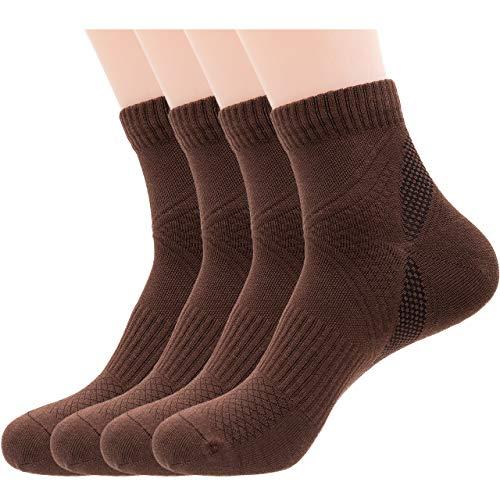 Mens Brown Athletic Quarter Ankle Socks, Cotton & Pearl-Fiber Low Crew Dress Socks Odor-Eater Moisture-Wicking Soft Cozy Breathable Socks for Sweaty Feet (4 Pack)