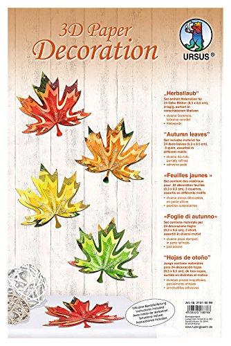 Ursus 21910099 - 3D Paper Decoration Herbstlaub, ca. 9,3 x 8,5 cm