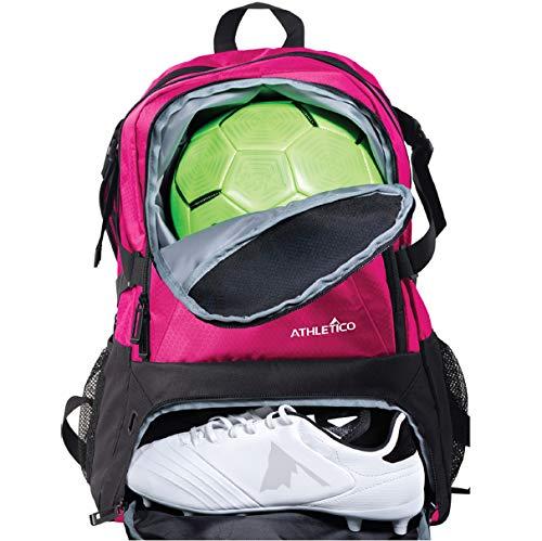 Athletico National Soccer Bag – Rucksack für Fußball, Basketball und Fußball inklusive separater Klampe und Ballhalter (Pink)