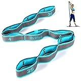 Sangle de Yoga Sangle d'exercice/Yoga Stretch Bandes avec 9 Anneaux/Bandes élastiques de Yoga Pilates Résistance Fitness Bandes de Formation de Danse élastique Gymnastique/Bleu