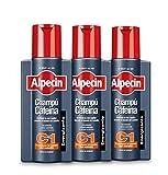 Alpecin Champú Cafeína C1, 3 x 250 ml – champú anticaída para hombres