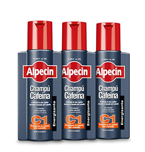 Alpecin Champú Cafeína C1, 3 x 250 ml – champú anticaída para...